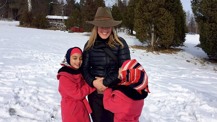 Director Debra Kellner with Saghar and Sahar in Sweden.